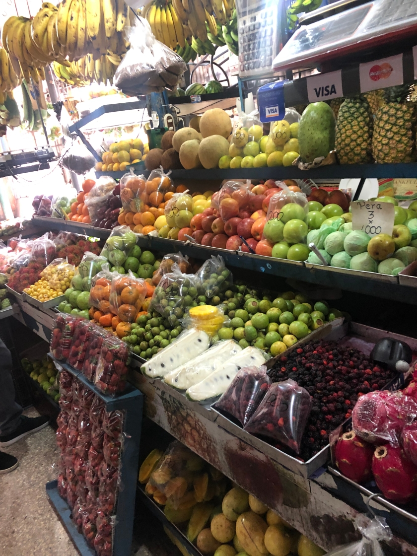 This photo shows part of the variety of fruits available at any given day in Heredia Central Market